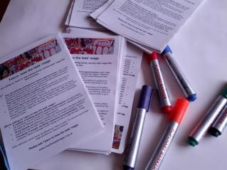 Pens & leaflets at the ready!